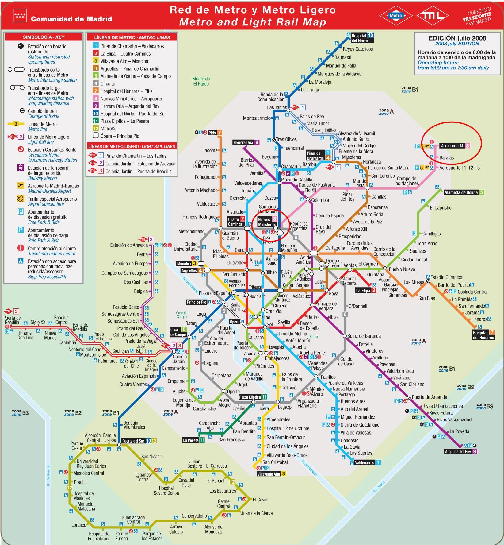 Madrid airport metro map - Madrid metro map airport (Spain) on paris metro map, xiamen metro map, prague metro map, cph metro map, nanchang metro map, ningbo metro map, rome metro map, barcelona metro map, the hague metro map, jakarta metro map, los angeles metro map, tokyo metro map, montreal metro map, london tube map, marrakech metro map, mexico city metro map, dhaka metro map, moscow metro map, kharkov metro map, lisbon metro map,