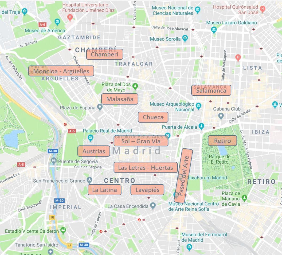 Madrid neighborhood map - Map of Madrid Spain neighborhoods